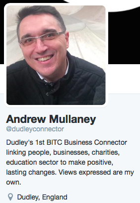 Photo and twitter bio for Andrew Mullaney