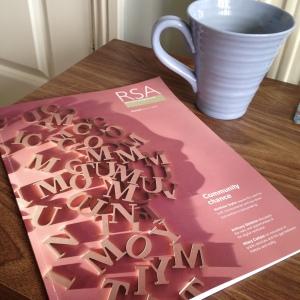 a photo of Lorna's RSA journal and mug of coffee